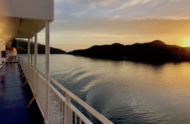 Ferry Marlborough Sounds at sunrise