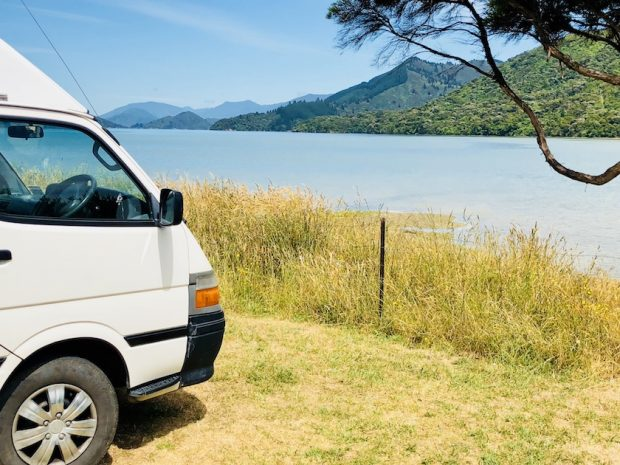 With my campervan in the Marlborough Sounds